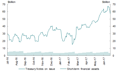 This chart shows the value of short-term financial assets held by the AOFM and Treasury Notes on issue throughout the 2016-17 financial year, in two separate series. The value of short-term financial assets held by the AOFM ranged from around $15 billion to slightly over $67 billion, whilst the face value of Treasury Notes on issue ranged from $3 to $6.5 billion.